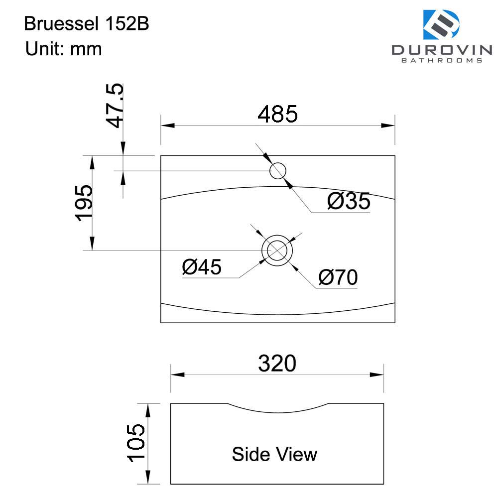 Cloakroom White Ceramic Counter Top Shallow Fill Basin 485 x 320mm Bruessel 152B