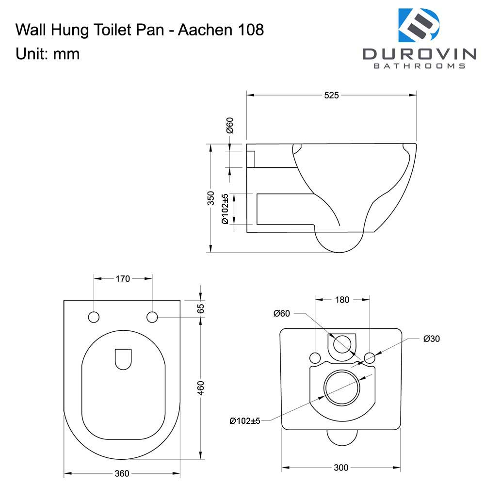 Wall Hung Toilet With Soft Close Seat Aachen 108