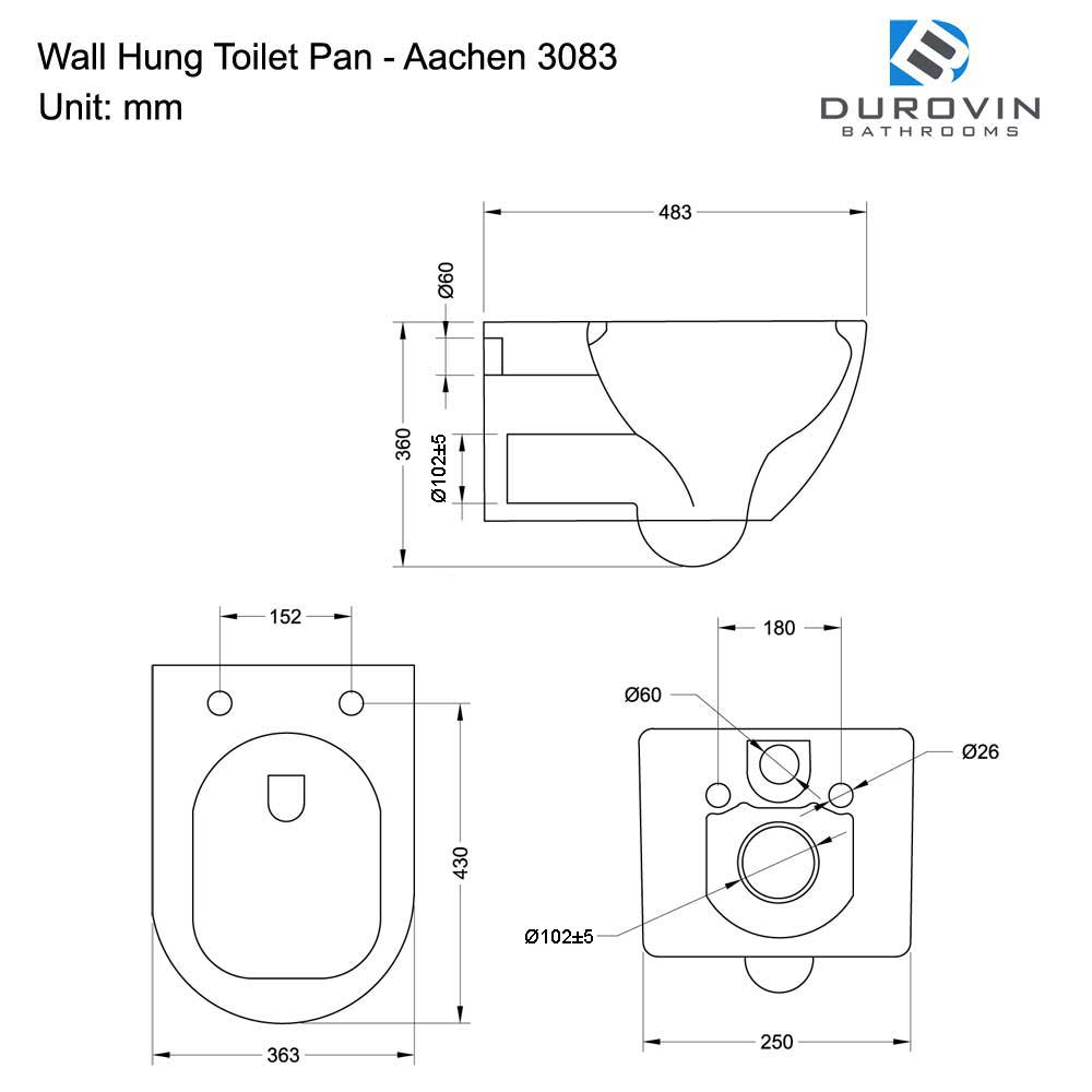 Rimless Wall Hung Toilet With Soft Close Seat Aachen 3083