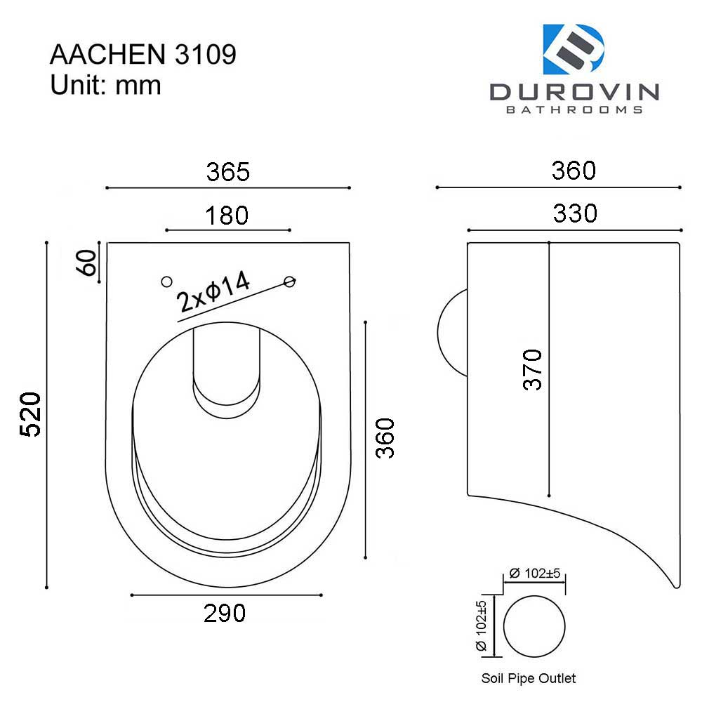 Rimless Wall Hung D Shape Toilet With Soft Close Seat Aachen 3109