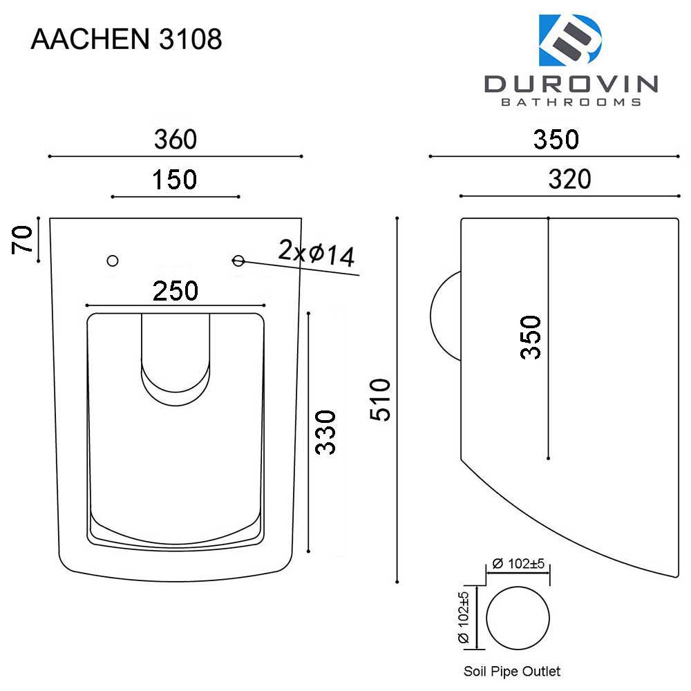 Rimless Wall Hung Square Toilet With Soft Close Seat Aachen 3108