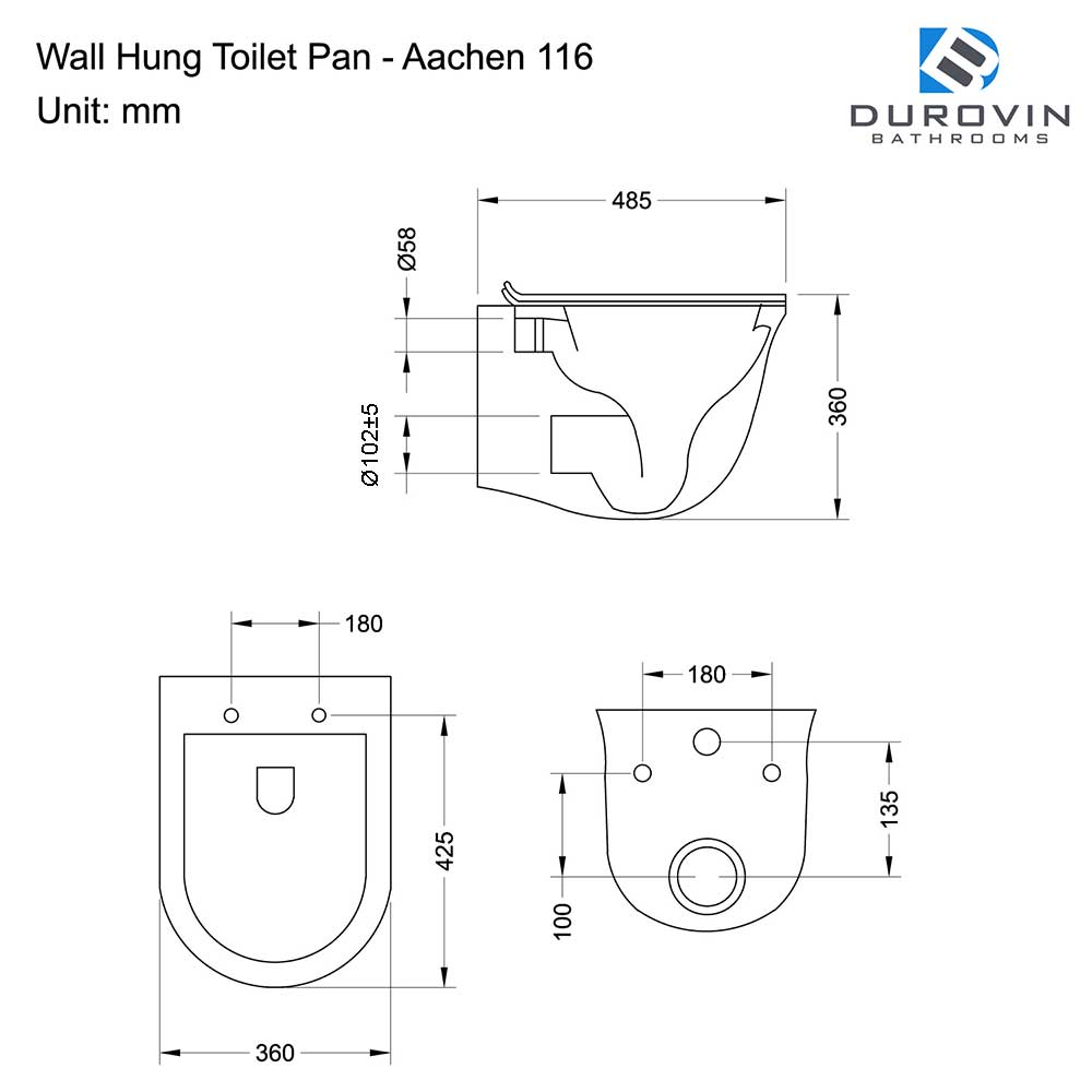 Wall Hung Gloss White Ceramic Toilet with Soft Close Toilet Seat Aachen 117