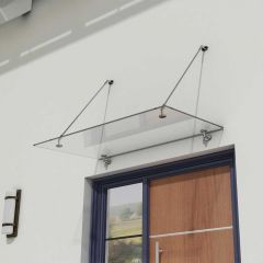 Glass Over Door Canopy   Stainless Steel Support Brackets & 13mm Thick Clear Safety Glass Second Image