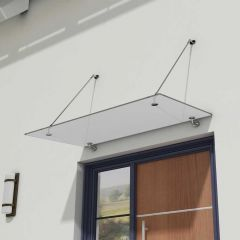 Glass Over Door Canopy   Stainless Steel Support Brackets & 13mm Thick Frosted Safety Glass Second Image