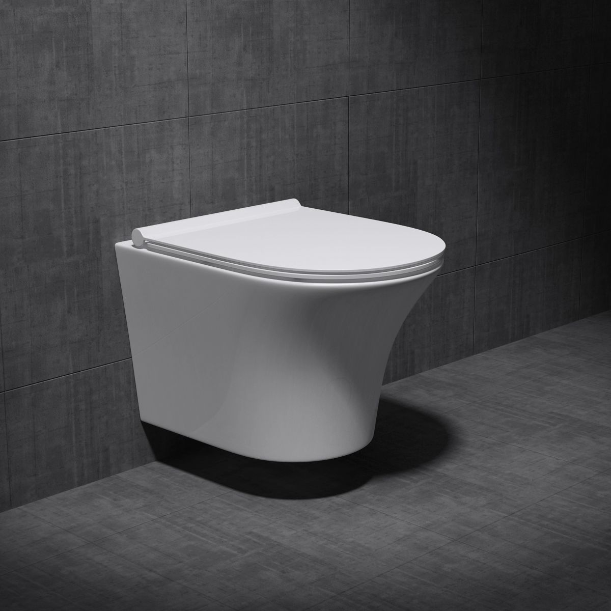 Wall Hung D Shape Toilet With Soft Close Seat - Open Flush Rim Aachen 3109