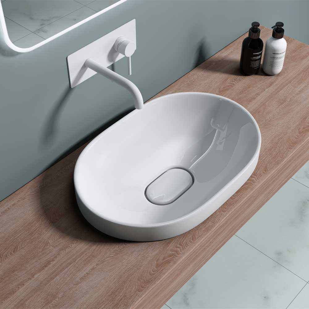Ceramic Oval Semi Recessed Counter Top Basin 580 x 400mm Bruessel 5006A Second Image