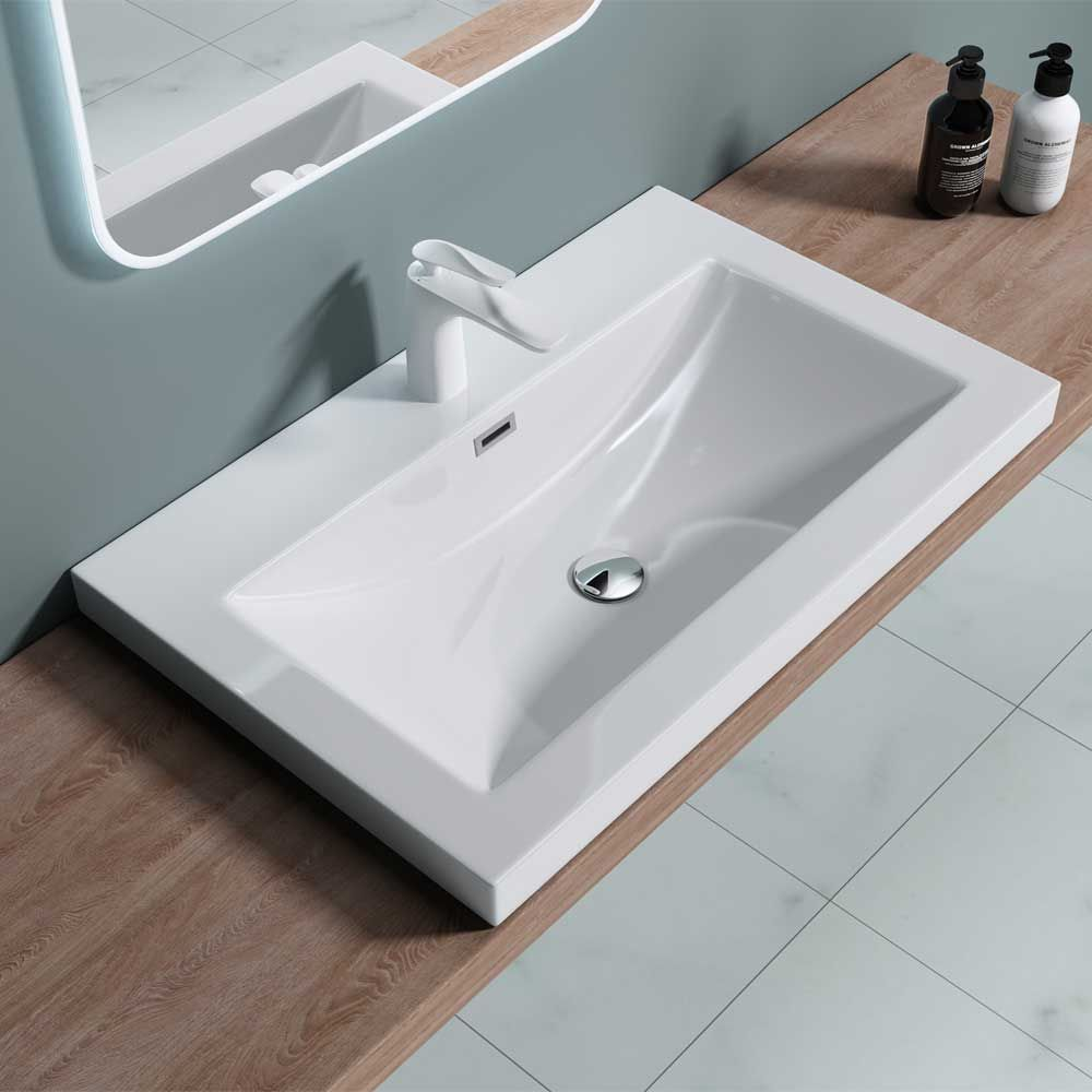 Semi Recessed Rectangular Resin Stone Basin 765 x 480 x 130mm Colossum 01 -765mm Second Image