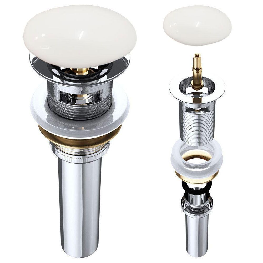 Round Slotted Sprung Plug Basin Waste with Ceramic Cover Cap First Image