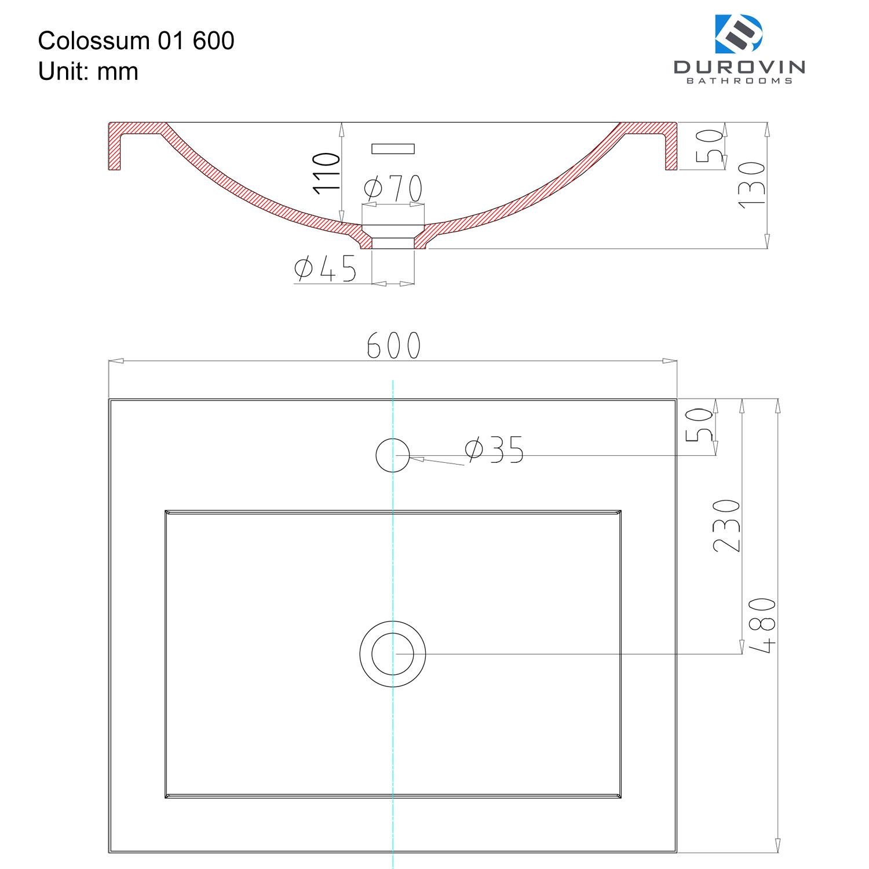 Semi Recessed Rectangular Solid Stone Washbasin 600 X 480 X 130mm