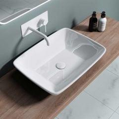 Ceramic Counter Top Rectangular Bathroom Wash Basin 590 x 430mm | Bruessel 102