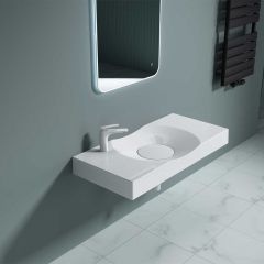 Wall Hung & Counter Top Stone Resin Rectangular Basin Concealed Waste Design 1000 x 480mm Colossum 15L Second Image