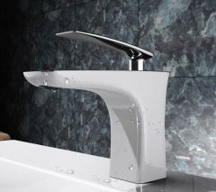 Chrome Bathroom Single Lever White Ceramic Plated Brass Mixer Basin Tap Second Image