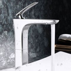 High Rise Single Lever Plated Brass Chrome Mixer Bathroom Basin Tap Second Image