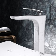 High Rise Single Lever White Ceramic Plated Chrome Brass Bathroom Basin Mixer Tap Second Image