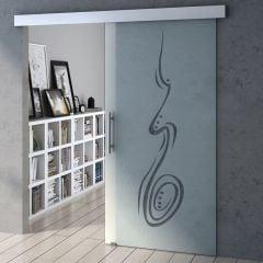 1025mm Interior Frameless Sliding Glass Door Swirl & Spiral Screen Bar Handle