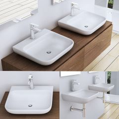 Compact D Shape Wall Mounted & Counter Top Cast Stone Basin Colossum 811 Second Image