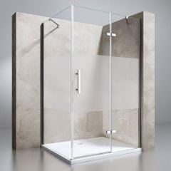 Frameless Frosted L Shape Rectangular Shower Enclosure Hinged Door 6mm Safety Glass Ravenna 28 Second Image