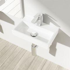Wall Hung Compact Ceramic Cloakroom Sink 380 x 240mm   Bruessel 3082