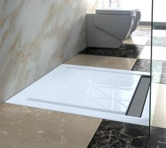 Stainless Steel Linear Walk-In Shower Drain With/Without Channel Tile Multiple Size QSG-1009