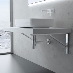 Triangular Stainless Steel Wall Mounted Mirror Finish Basin Shelf Brackets WH02 First Image