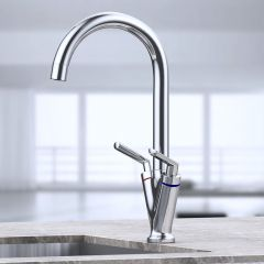 Dual Handle Thermostatic Hot Cold Mixer Basin Tap Chrome Second Image