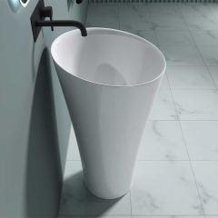 Stone Resin Pedestal Basin - Round Freestanding Bathroom Sink Colossum 33