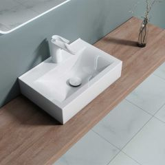 Square Ceramic Cloakroom Counter Top Bathroom Basin 455 x 310mm | Bruessel 118C