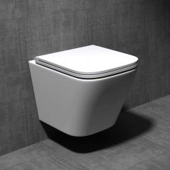 Rimless Wall Hung Square Toilet WC Pan With Soft Close Seat - Aachen 112