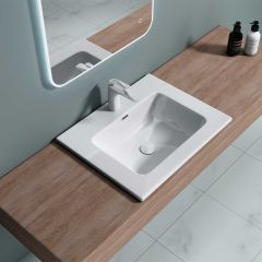 Semi Recessed Resin Stone Basin Cabinet Sink Colossum 15A Second Image
