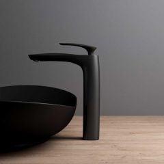 High Quality Bathroom Chrome Single Lever Monobloc Mixer Basin Tap - Counter Top - Matte Black