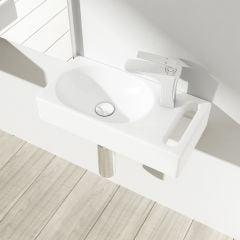 Small Cloakroom Wall Hung Bathroom Sink with Towel Rail Bruessel 3086