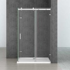 Rectangular L Shape Frameless Shower Enclosure Sliding Door 8mm Safty Glass Ravenna 17-2nd Second Image