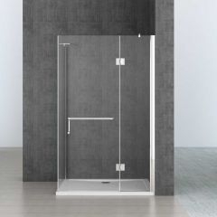 L Shape Shower Enclosure Hinged Door with Towel Rail Handle 8mm Safety Clear Glass Ravenna 4 Second Image