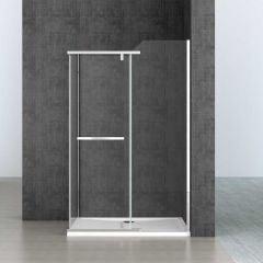 Rectangular Frameless Shower Enclosure Pivot Hinged Door 8mm Safety Clear Glass Ravenna 13 Second Image