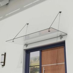 Glass Over Door Canopy   Stainless Steel Support Brackets & 13mm Thick Clear Safety Glass