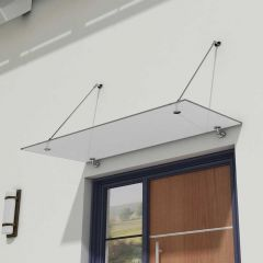 Glass Over Door Canopy   Stainless Steel Support Brackets & 13mm Thick Frosted Safety Glass