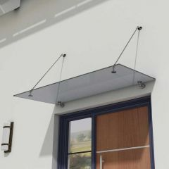 Glass Over Door Canopy   Stainless Steel Support Brackets & 13mm Thick Grey Safety Glass