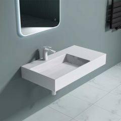 Counter Top & Wall Hung Stone Basin With Side Shelf 900 x 480mm Colossum 12 Second Image