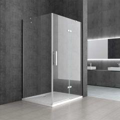 Frameless Clear L Shape Rectangular Shower Enclosure Hinged Door 6mm Safety Glass Ravenna 28 Second Image