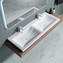 Semi Recessed Couple Bathroom Sink Stone Resin Double Wash Basin Colossum 03 1440
