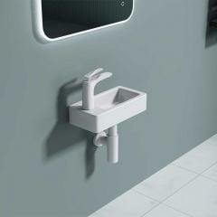 Cloakroom Wall Hung Compact Ceramic Bathroom Sink 370 x 180mm LH Tap| Bruessel 3053R