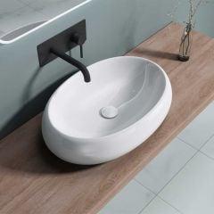 Counter Top Oval Ceramic Bathroom Basin Shallow Fill 590 x 400mm | Bruessel 323