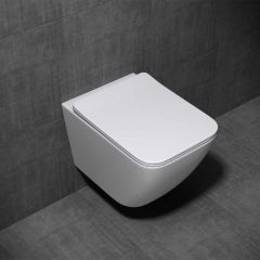 Wall Hung Square Toilet With Soft Close Seat - Open Flush Rim Aachen 3108