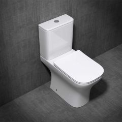Close Coupled Bathroom Ceramic Toilet Pan & Cistern with Soft Close Seat | Aachen 215A