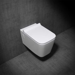 Wall Hung Gloss White Ceramic Toilet with Thin Soft Close Toilet Seat Aachen 107 Second Image