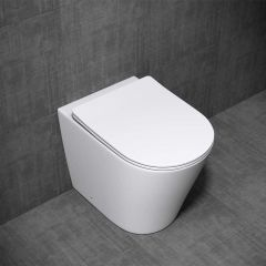 Open Rim Back To Wall Ceramic D Shaped Toilet With Slim Soft Close Seat   Aachen 3178