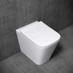 Open Rim Back To Wall Ceramic Toilet Pan With Slim Soft Close Seat Aachen 3170