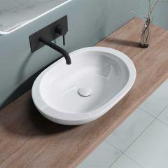 Counter Top Oval Ceramic Bathroom Washing Basin 590 x 400mm | Brussel 5056