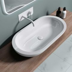 Large Counter Top Oval Round Ended Ceramic Basin 800 x 425mm | Bruessel 5057