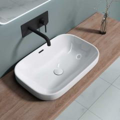 Semi-Recessed Rectangle Ceramic Basin 610 x 405mm   Bruessel 5082